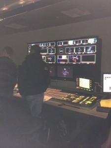 Ravensbourne's TV studio control room during the Richard II stream
