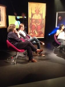 David Tennant and Gregory Doran in Ravensbourne's TV studio with Konnie Huq